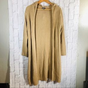 Beige Long Duster Hooded Cardigan Ribbed Sweater